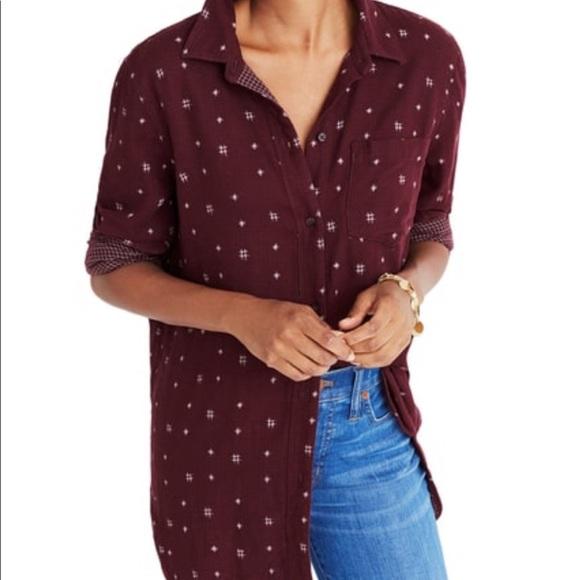 98e03a0baae Madewell Tops - Madewell Classic Ex-boyfriend Shirt Burgundy Ikat